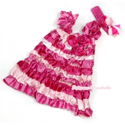 Hot Light Pink Satin Ruffles Layer One Piece Dress With Cap Sleeve With Hot Pink Bow & Bunch Of Hot Pink Satin Rosettes & Crystal With Hot Pink Headband Hot Light Pink Screwed Ribbon Bow RD022