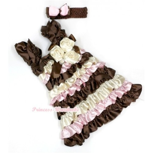 Brown Cream White Light Pink Satin Ruffles Layer One Piece Dress With Cap Sleeve With Brown Bow & Bunch Of Cream White Satin Rosettes & Crystal With Brown Headband Light Pink Brown Ribbon Bow RD023