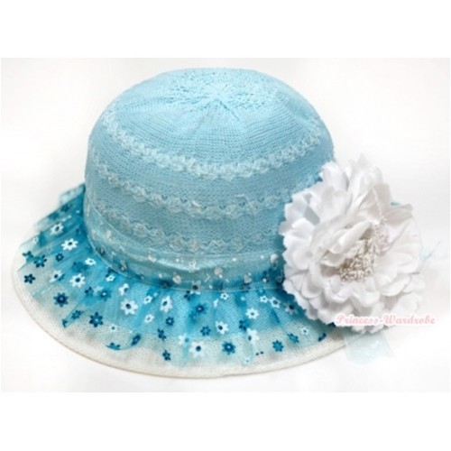 Light Blue Floral Pattern With Cute Bow Summer Beach Straw Hat With White Peony H698