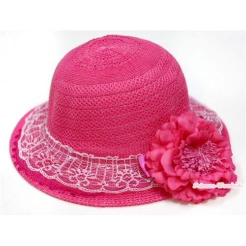 Hot Pink White Lace With Sparkle Bow Summer Beach Straw Hat With Hot Pink Peony H699