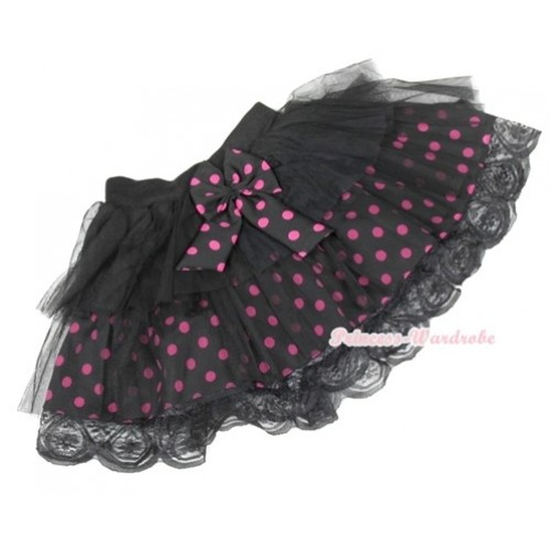 Black Hot Pink Polka Dots Tiered Layer Skirt Dress B148