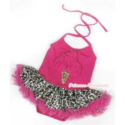 Hot Pink Baby Halter Jumpsuit Hot Pink Leopard Pettiskirt With Hot Pink Leopard Ice Cream Print JS904