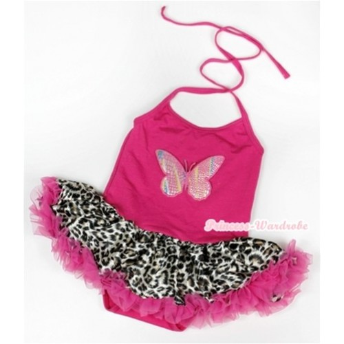 Hot Pink Baby Halter Jumpsuit Hot Pink Leopard Pettiskirt With Rainbow Butterfly Print JS912