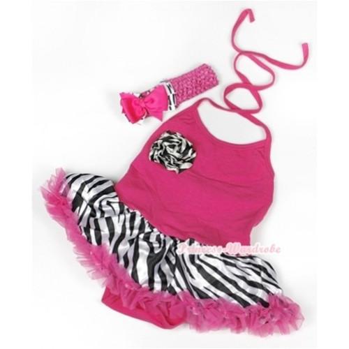 Hot Pink Baby Halter Jumpsuit Hot Pink Zebra Pettiskirt With One Zebra Rose With Hot Pink Headband Hot Pink Zebra Ribbon Bow JS928
