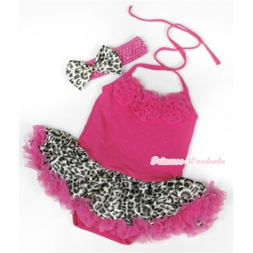 Hot Pink Baby Halter Jumpsuit Hot Pink Leopard Pettiskirt With Hot Pink Rosettes With Hot Pink Headband Leopard Satin Bow JS929