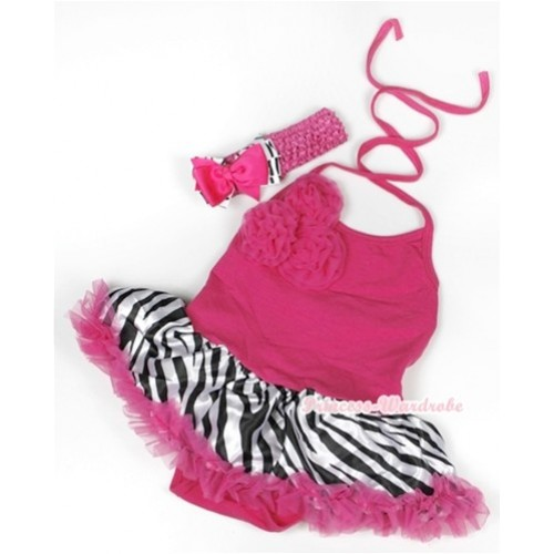 Hot Pink Baby Halter Jumpsuit Hot Pink Zebra Pettiskirt With Bunch Of Hot Pink Rosettes With Hot Pink Headband Hot Pink Zebra Ribbon Bow JS930
