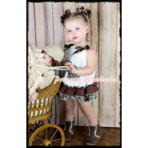 Brown Leopard White Swing Top with Brown Bow with Brown Leopard Ruffles White Panties Bloomers SP06