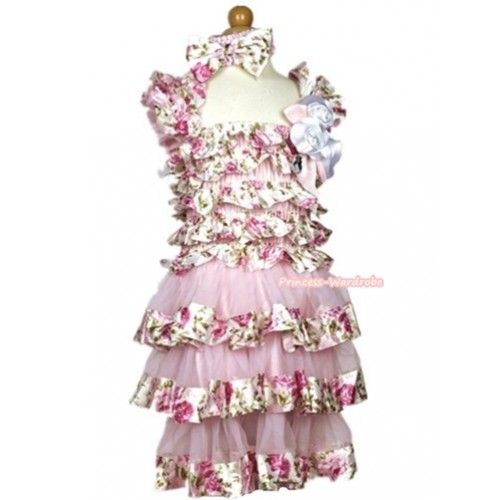 Light Pink Rose Fusion Satin Ruffles Layer One Piece Dress With Cap Sleeve With Light Pink Bow & Bunch Of White Satin Rosettes & Crystal With Light Pink Headband Light Pink Rose Fusion Satin Bow RD038
