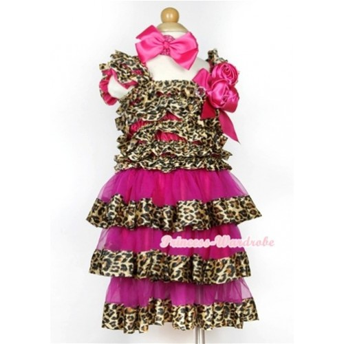 Hot Pink Leopard Satin Ruffles Layer One Piece Dress With Cap Sleeve With Hot Pink Bow & Bunch Of Hot Pink Satin Rosettes & Crystal With Hot Pink Headband Hot Pink Silk Bow RD039