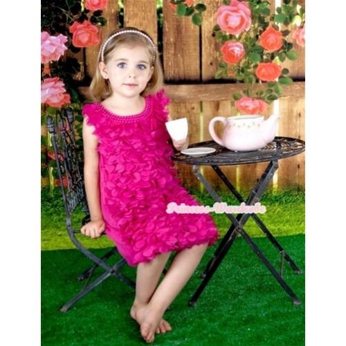Hot Pink Rosettes Petal Pearl Elegant Wedding Party Dress PD035