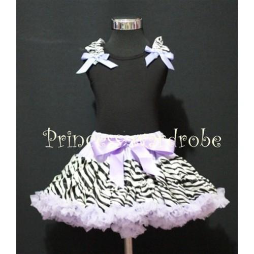 Black Pettitop with Zebra Ruffles Lavender Bow with Lavender Zebra Pettiskirt MW13