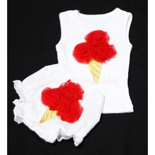 Red Ice Cream Panties Bloomers with White Baby Pettitop with Red Ice Cream BC21