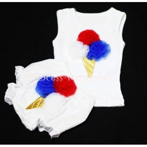 Red Blue White Mix Ice Cream Panties Bloomers with White Baby Pettitop with Red Blue White Mix Ice Cream BC20