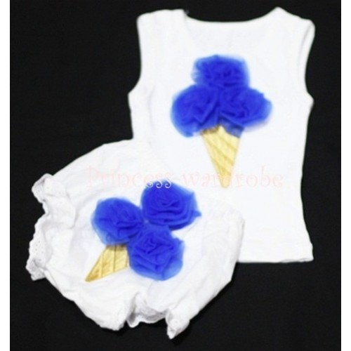Royal Blue Ice Cream Panties Bloomers with White Baby Pettitop with Royal Blue Ice Cream BC26