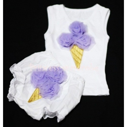 Lavender Ice Cream Panties Bloomers with White Baby Pettitop with Lavender Ice Cream BC27