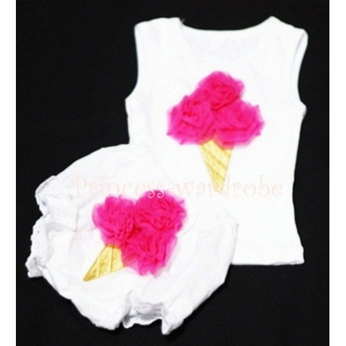 Hot Pink Ice Cream Panties Bloomers with White Baby Pettitop with Hot Pink Ice Cream BC29