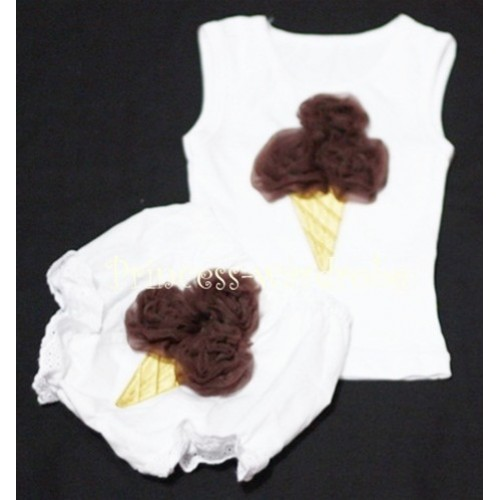 Brown Ice Cream Panties Bloomers with White Baby Pettitop with Brown Ice Cream BC32