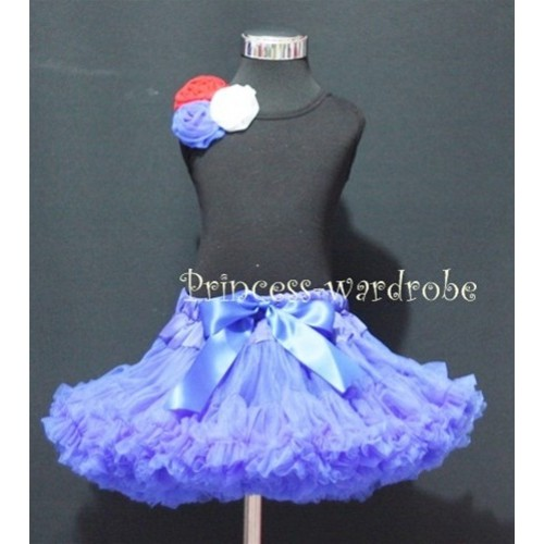 Black Tank Tops & Red White Blue Rosettes With Royal Blue Pettiskirt M170
