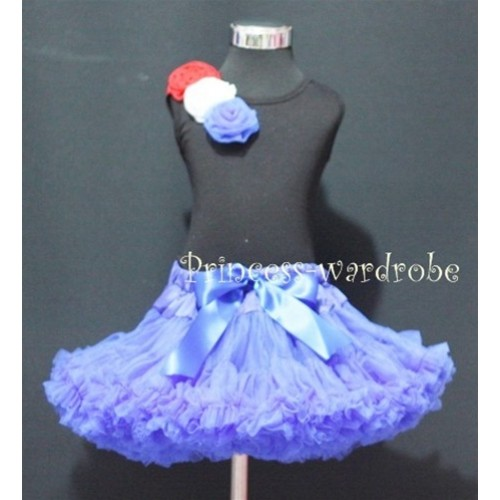 Black Tank Top & Oblique Red White Blue Rosettes with Royal Blue Pettiskirt M172
