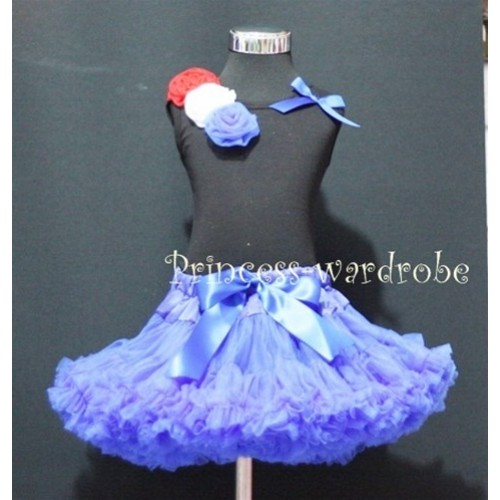 Black Tank Top & Red White Blue Rosettes and Bow With Royal Blue Pettiskirt M176