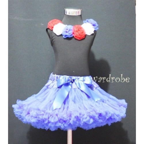 Black Tank Top & Six pcs Red White Blue Rosettes With Royal Blue Pettiskirt M177