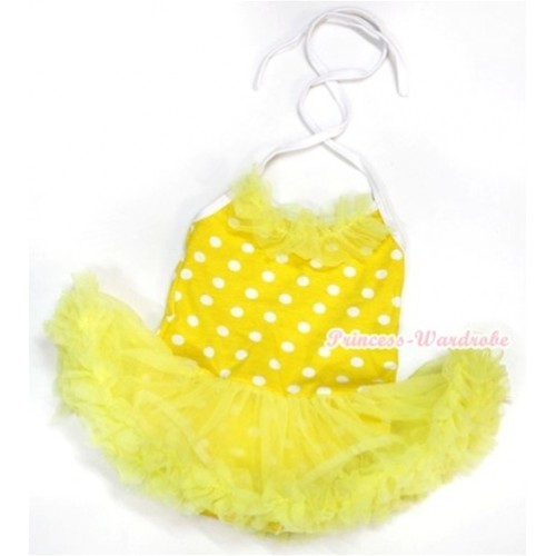 Yellow White Dots Baby Halter Jumpsuit Yellow Pettiskirt With Yellow Chiffon Lacing JS968