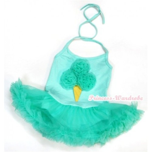 Aqua Blue Baby Halter Jumpsuit Aqua Blue Pettiskirt With Aqua Blue Rosettes Ice Cream Print JS977