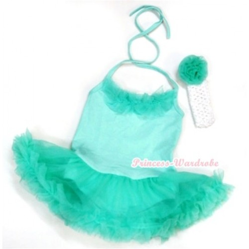 Aqua Blue Baby Halter Jumpsuit Aqua Blue Pettiskirt With Aqua Blue Chiffon Lacing With White Headband Aqua Blue Rose JS1001
