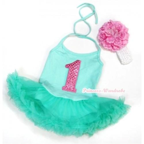Aqua Blue Baby Halter Jumpsuit Aqua Blue Pettiskirt With 1st Sparkle Light Pink Birthday Number Print With White Headband Light Pink Peony JS1014