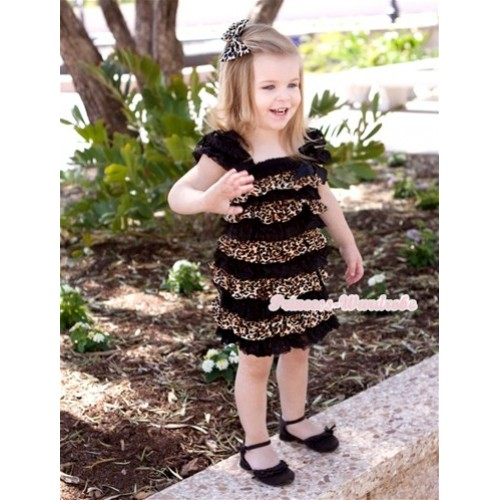 Black Leopard Lace Ruffles Layer One Piece Dress With Cap Sleeve With Black Bow RD003