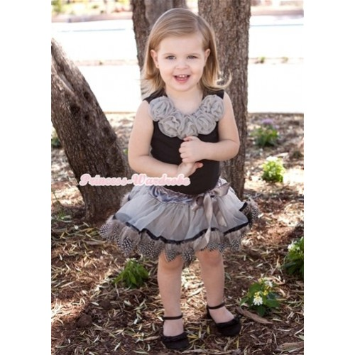 Black Tank Tops With Grey Rosettes With Silver Grey Feather Pettiskirt MW219