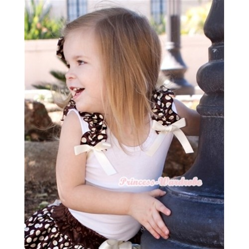 White Tank Top with Brown Golden Dots Ruffles and Cream White Bow T493