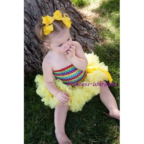 Rainbow Crochet Tube Top with Yellow Baby Pettiskirt CT95