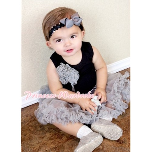 Black Baby Pettitop & Bunch of Grey Rosettes & Grey Ribbon with Grey Baby Pettiskirt NG400
