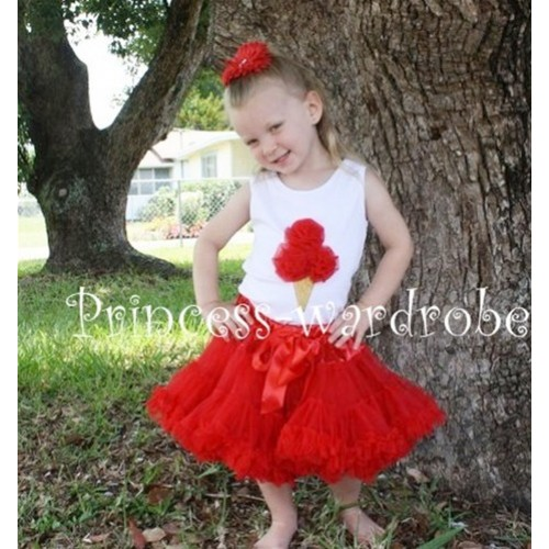 Red Pettiskirt With Red Ice Cream White Tank Top MS102