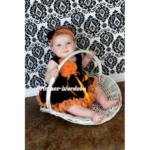 Black Baby Pettitop & Bunch of Orange Rosettes & Orange Ribbon with Black Orange Baby Pettiskirt NG402