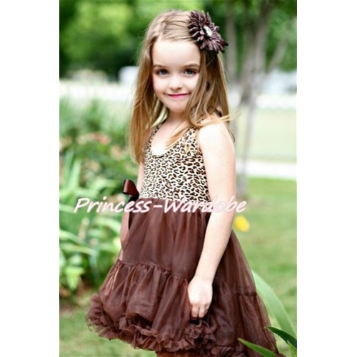 Leopard Print with Choco Brown ONE-PIECE Petti Dress with Bow LP03