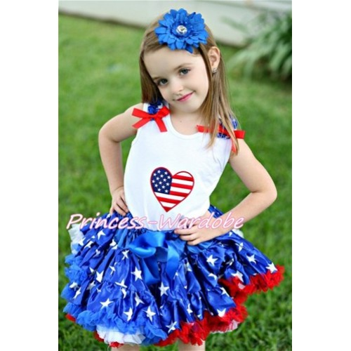 Patriotic America Star Pettiskirt with Patriotic America Heart Print White Tank Top With Patriotic America Star Ruffles & Red Bow MM167