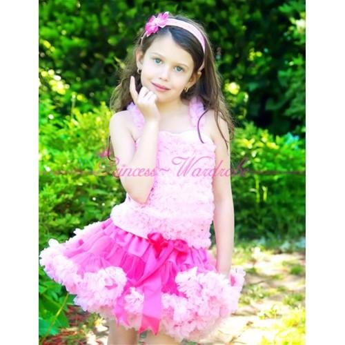 Bright Light Pink Pettiskirt with Matching Pink Ruffles Tank Tops MR05