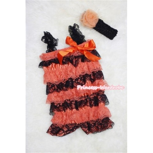 Orange Black Layer Chiffon Romper with Orange Bow & Black Straps with Black Headband Set RH34