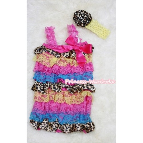 Rainbow Leopard Layer Chiffon Romper with Hot Pink Bow & Hot Pink Straps with Yellow Headband Set RH40