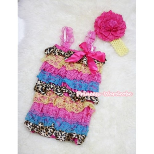 Rainbow Leopard Layer Chiffon Romper with Hot Pink  Bow & Hot Pink Straps with Yellow Headband Set  RH41