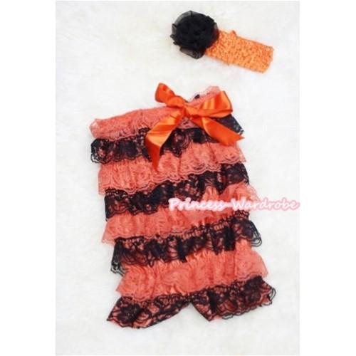 Halloween Orange Black Layer Chiffon Romper with Orange Bow with Orange Headband Set RH45