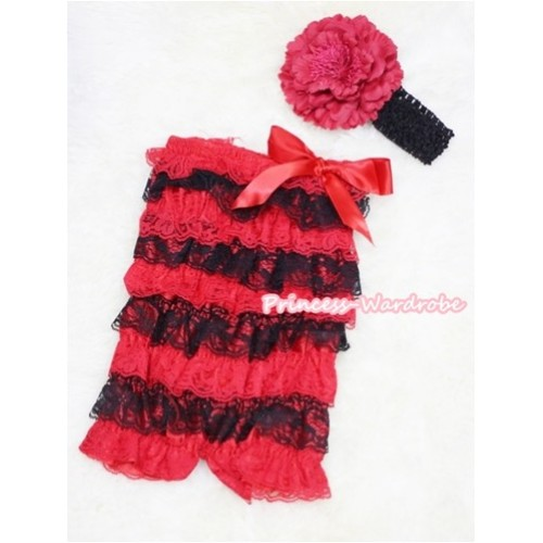Xmas Red Black Layer Chiffon Romper with Red Bow with Black Headband Set RH48