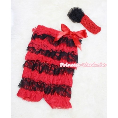 Xmas Red Black Layer Chiffon Romper with Red Bow with Red Headband Set RH50