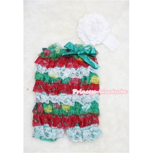 Xmas Red White Green Layer Chiffon Romper with Green Bow with White Headband Set RH52