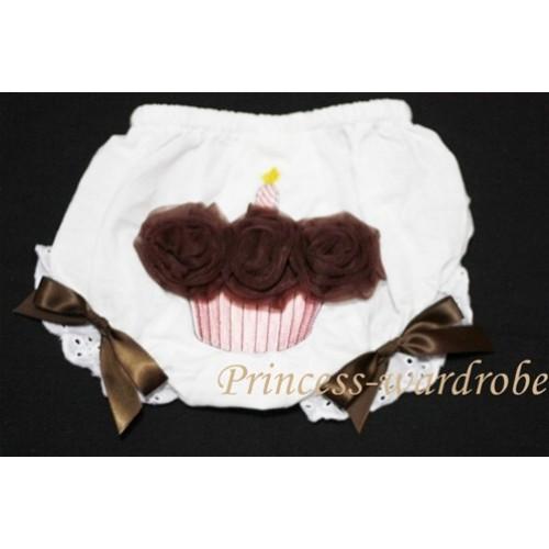 White Bloomer & Brown Cupcake BC38