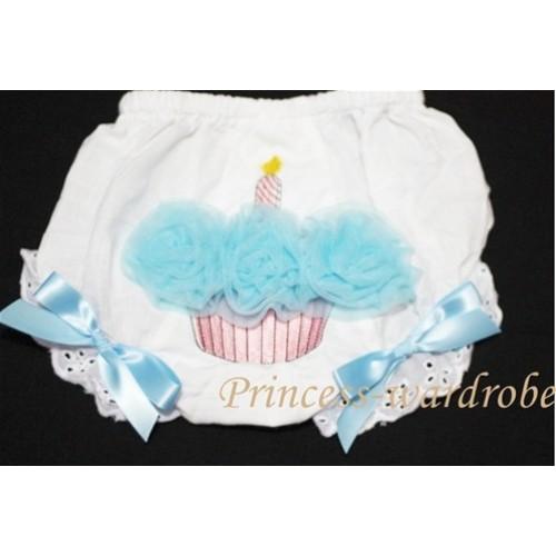 White Bloomer & Light Blue Cupcake BC40