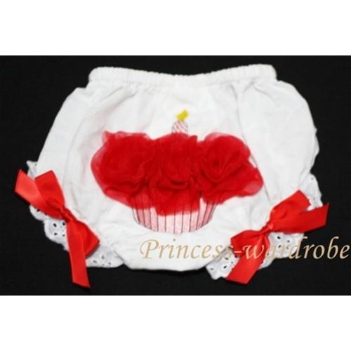 White Bloomer & Red Cupcake BC44