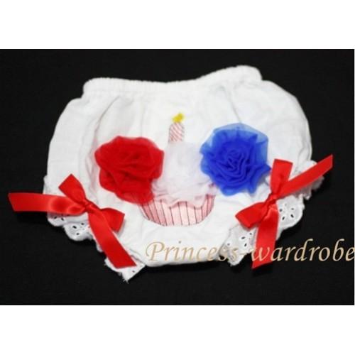 White Bloomer & Red White Blue Cupcake & Red Ribbon BC46
